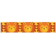 Cute Lion Face Orange Yellow Animals Flano Scarf (Large)