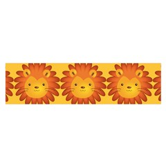 Cute Lion Face Orange Yellow Animals Satin Scarf (Oblong)