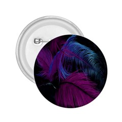 Feathers Quill Pink Black Blue 2.25  Buttons