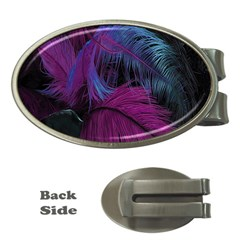 Feathers Quill Pink Black Blue Money Clips (Oval)