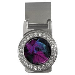 Feathers Quill Pink Black Blue Money Clips (CZ)