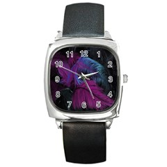 Feathers Quill Pink Black Blue Square Metal Watch