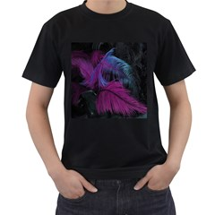 Feathers Quill Pink Black Blue Men s T-Shirt (Black) (Two Sided)