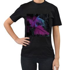 Feathers Quill Pink Black Blue Women s T-Shirt (Black) (Two Sided)