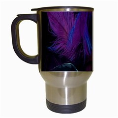 Feathers Quill Pink Black Blue Travel Mugs (White)
