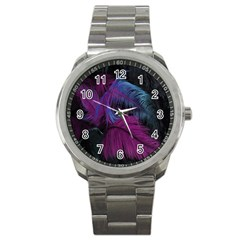 Feathers Quill Pink Black Blue Sport Metal Watch