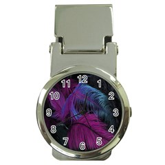 Feathers Quill Pink Black Blue Money Clip Watches
