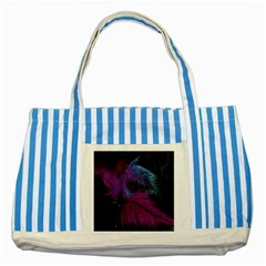 Feathers Quill Pink Black Blue Striped Blue Tote Bag