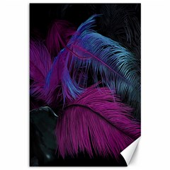 Feathers Quill Pink Black Blue Canvas 12  x 18