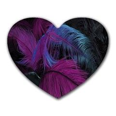 Feathers Quill Pink Black Blue Heart Mousepads
