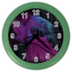 Feathers Quill Pink Black Blue Color Wall Clocks