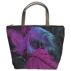 Feathers Quill Pink Black Blue Bucket Bags