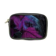 Feathers Quill Pink Black Blue Coin Purse