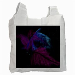 Feathers Quill Pink Black Blue Recycle Bag (One Side)