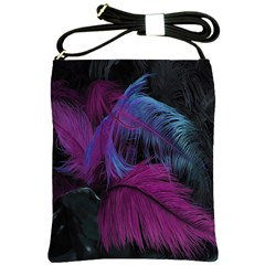 Feathers Quill Pink Black Blue Shoulder Sling Bags