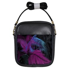 Feathers Quill Pink Black Blue Girls Sling Bags