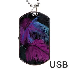 Feathers Quill Pink Black Blue Dog Tag USB Flash (One Side)