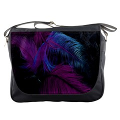 Feathers Quill Pink Black Blue Messenger Bags