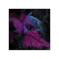 Feathers Quill Pink Black Blue Acrylic Tangram Puzzle (4  x 4 )