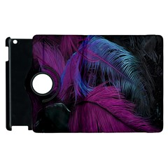 Feathers Quill Pink Black Blue Apple iPad 3/4 Flip 360 Case