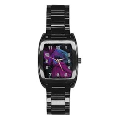 Feathers Quill Pink Black Blue Stainless Steel Barrel Watch