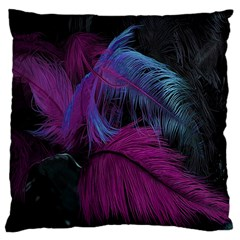 Feathers Quill Pink Black Blue Large Flano Cushion Case (one Side)