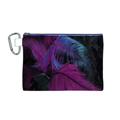 Feathers Quill Pink Black Blue Canvas Cosmetic Bag (M)