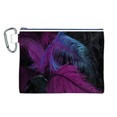 Feathers Quill Pink Black Blue Canvas Cosmetic Bag (L)
