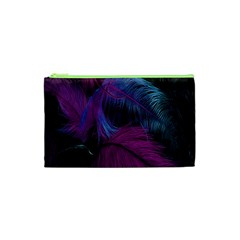 Feathers Quill Pink Black Blue Cosmetic Bag (XS)