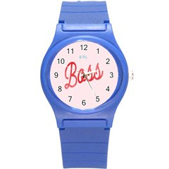 Girl Boss Pink Red Blue Sexy Round Plastic Sport Watch (S)