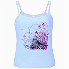 Wreaths Frame Flower Floral Pink Black Baby Blue Spaghetti Tank