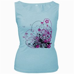 Wreaths Frame Flower Floral Pink Black Women s Baby Blue Tank Top