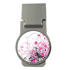 Wreaths Frame Flower Floral Pink Black Money Clips (Round)