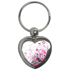 Wreaths Frame Flower Floral Pink Black Key Chains (Heart)