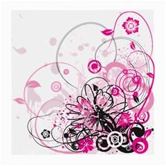 Wreaths Frame Flower Floral Pink Black Medium Glasses Cloth (2-Side)
