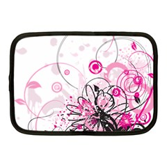 Wreaths Frame Flower Floral Pink Black Netbook Case (Medium)