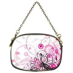 Wreaths Frame Flower Floral Pink Black Chain Purses (One Side)