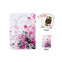 Wreaths Frame Flower Floral Pink Black Playing Cards (Mini)