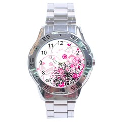 Wreaths Frame Flower Floral Pink Black Stainless Steel Analogue Watch