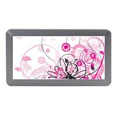 Wreaths Frame Flower Floral Pink Black Memory Card Reader (Mini)