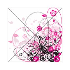 Wreaths Frame Flower Floral Pink Black Acrylic Tangram Puzzle (6  x 6 )
