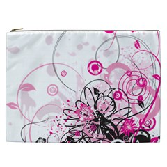 Wreaths Frame Flower Floral Pink Black Cosmetic Bag (XXL)