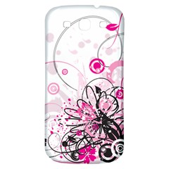 Wreaths Frame Flower Floral Pink Black Samsung Galaxy S3 S III Classic Hardshell Back Case