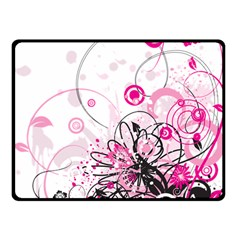 Wreaths Frame Flower Floral Pink Black Double Sided Fleece Blanket (Small)