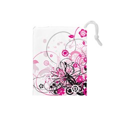 Wreaths Frame Flower Floral Pink Black Drawstring Pouches (Small)