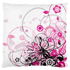 Wreaths Frame Flower Floral Pink Black Large Flano Cushion Case (Two Sides)
