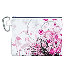 Wreaths Frame Flower Floral Pink Black Canvas Cosmetic Bag (L)