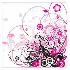 Wreaths Frame Flower Floral Pink Black Large Satin Scarf (Square)