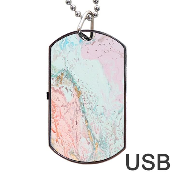 Geode Crystal Pink Blue Dog Tag USB Flash (One Side)