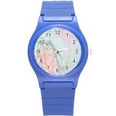 Geode Crystal Pink Blue Round Plastic Sport Watch (S)